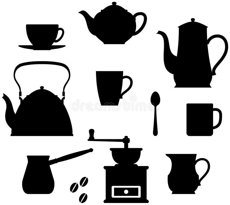 время чая crockery кофе иллюстрация штока