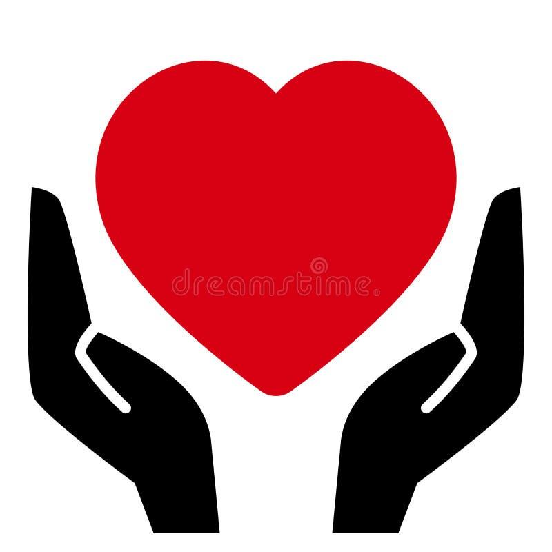 вручает красный цвет сердца иллюстрация вектора