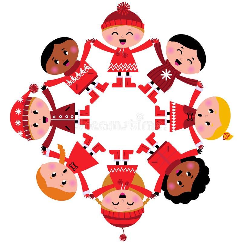 вручает счастливым малышам удерживания многокультурную зиму бесплатная иллюстрация