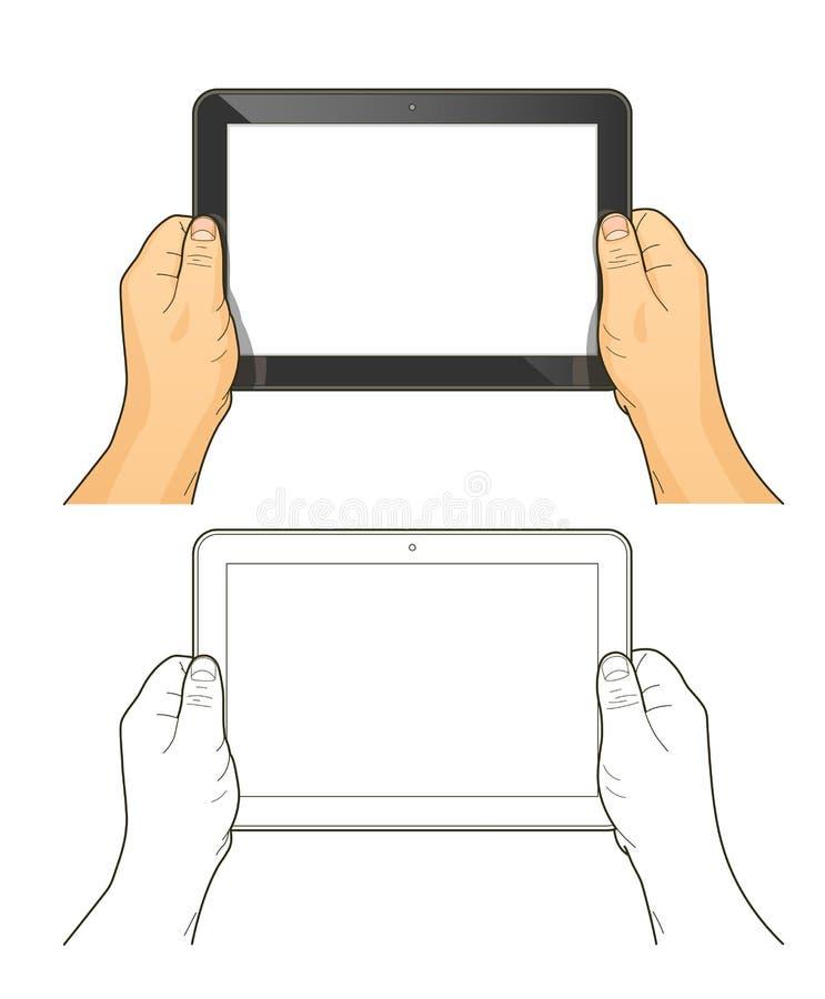 Download вручает таблетку ПК иллюстрация штока. иллюстрации насчитывающей рука - 41655675