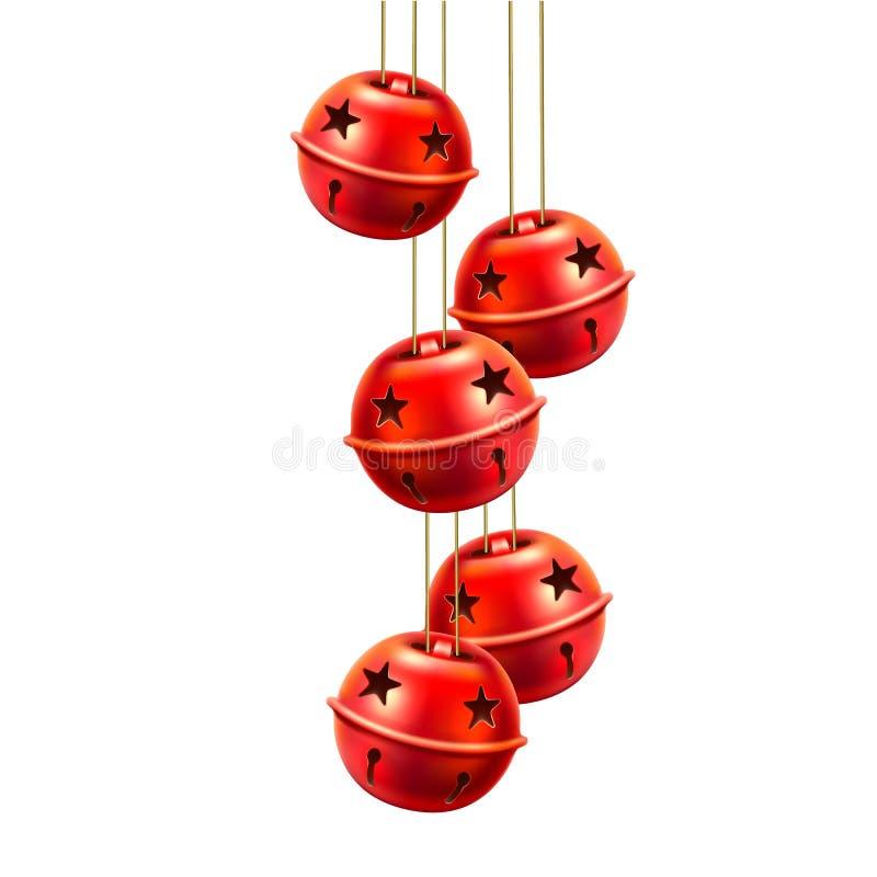Вручать игрушек колоколов звона вектора красный реалистический иллюстрация штока