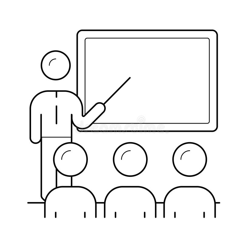 Вручитель на линии значке представления дела иллюстрация вектора