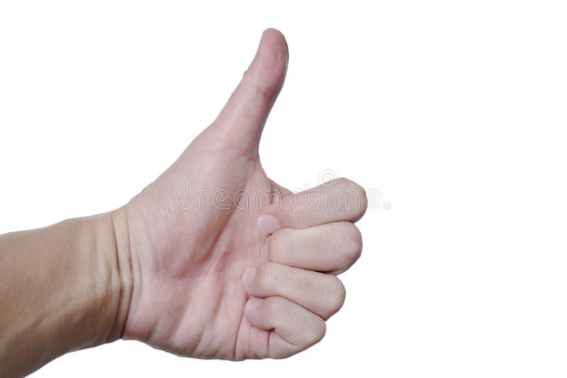 Вручите большой палец руки подъема вверх для жизнерадостного на белой предпосылке стоковое изображение