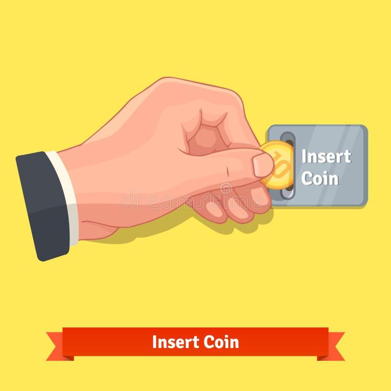 Вручите вводить монетку к шлицу на торговом автомате бесплатная иллюстрация