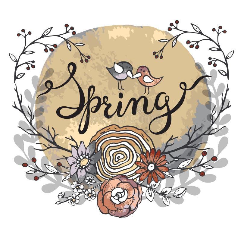 Вручите весну слова литерности с флористическим венком и 2 птицами иллюстрация штока