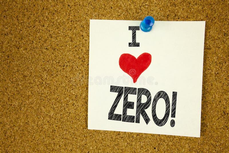 Вручите влюбленности показа i воодушевленности титра текста сочинительства zero концепцию знача zero любить допуска Nought нулей  стоковое изображение rf