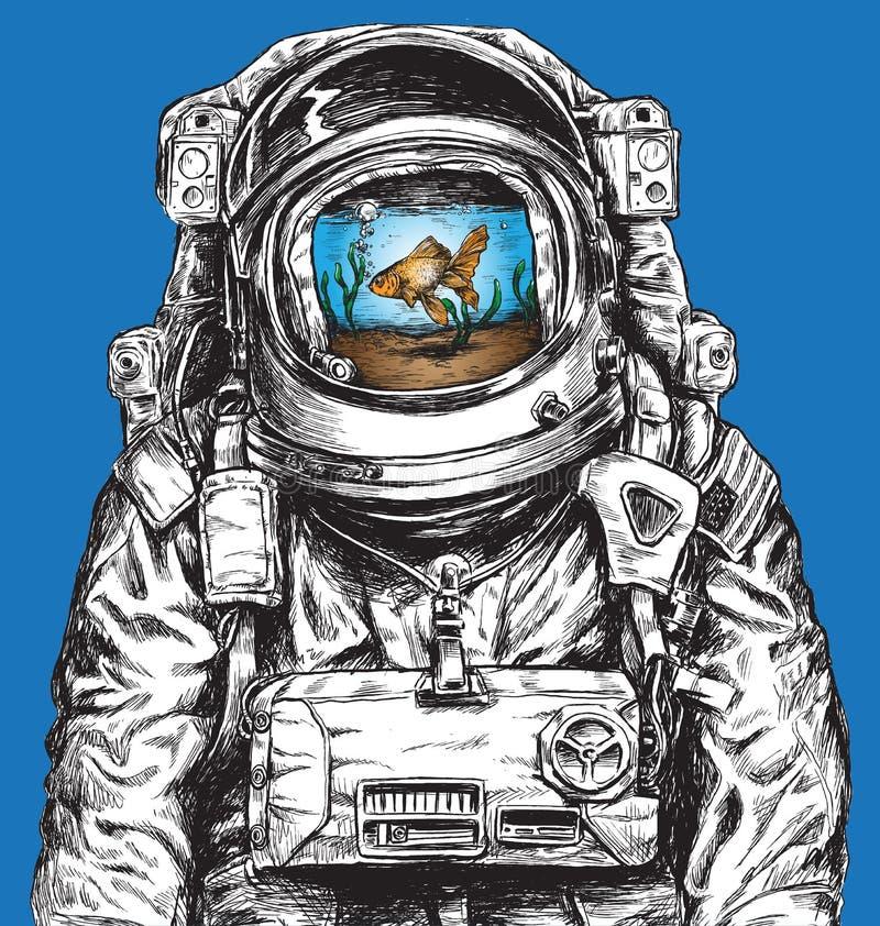 Вручите вычерченного астронавта заполненного с водой и рыбкой иллюстрация вектора