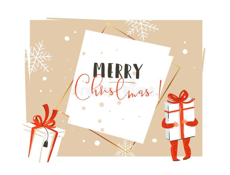 Вручите вычерченное время конспекта вектора с Рождеством Христовым и счастливое Нового Года винтажный заголовок поздравительной о иллюстрация штока