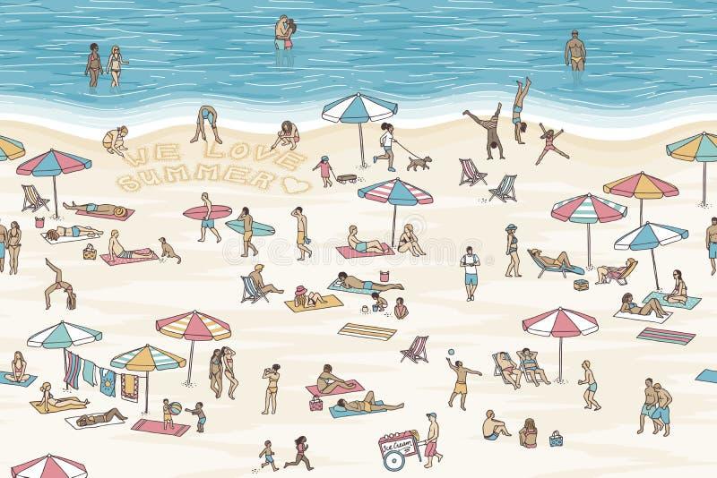 Вручите вычерченное знамя с крошечными людьми на пляже иллюстрация штока