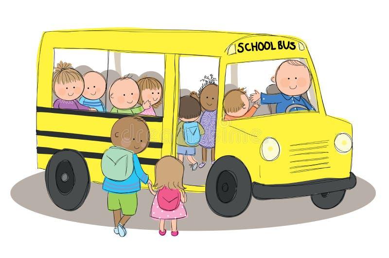 Дети на школьном автобусе иллюстрация вектора