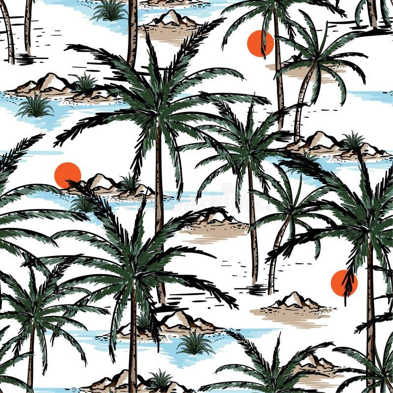 Вручите вычерченное и выровняйте остров лета эскиза, пляж и пальмы s бесплатная иллюстрация