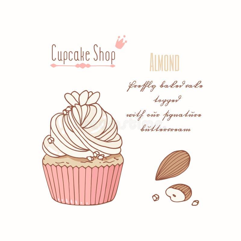 Вручите вычерченное пирожное с buttercream doodle для меню магазина печенья Вкус миндалины иллюстрация вектора