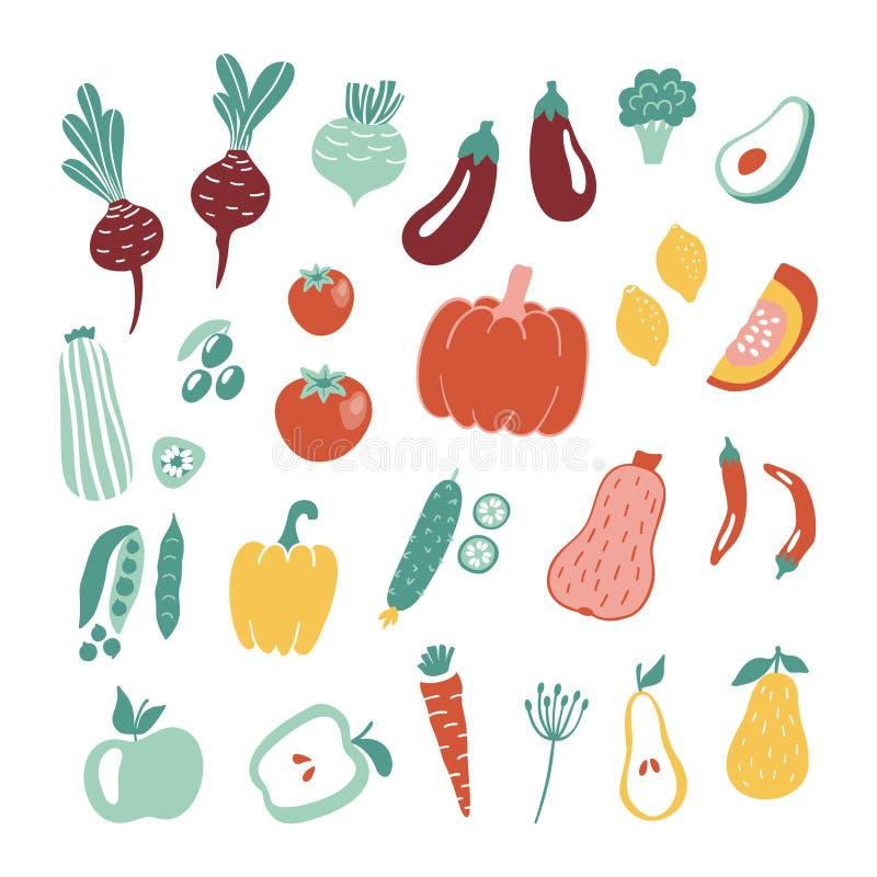 Вручите вычерченное собрание фруктов и овощей изолированное на белой предпосылке иллюстрация вектора