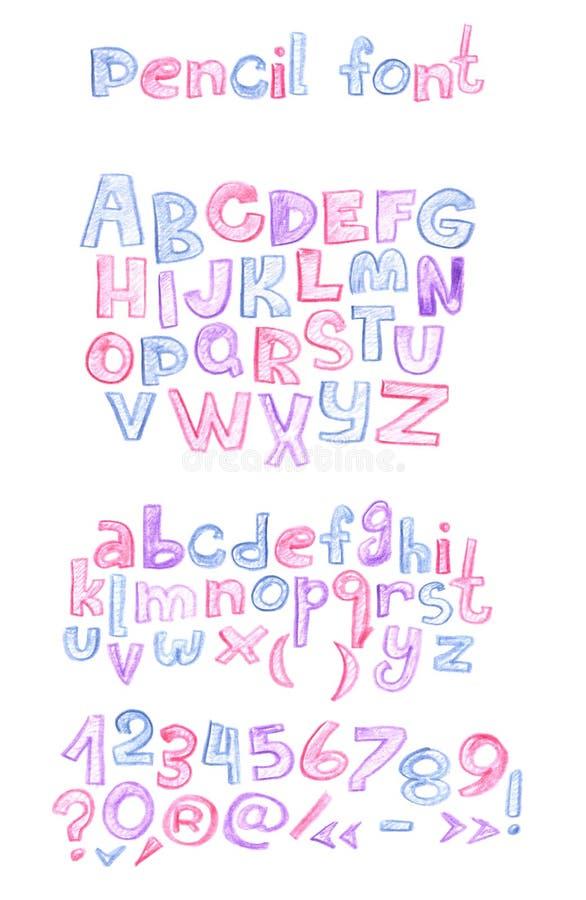 Вручите вычерченное с последовательностью писем abc карандашей цвета Столица и строчные буквы, номера и знаки препинания насиженн бесплатная иллюстрация