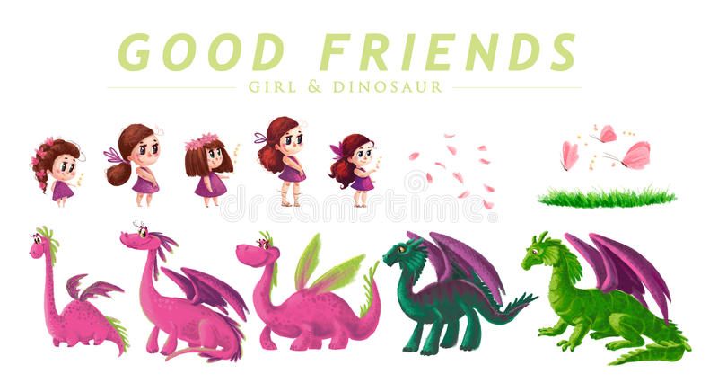 Вручите вычерченное художническое собрание милой маленькой девочки и дружелюбного динозавра иллюстрация вектора