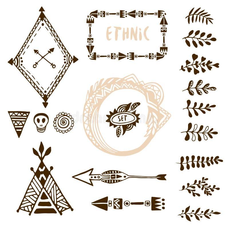 Вручите вычерченное этническое собрание с стрелками, вигвамом, рамками и границей, флористическими элементами забастовки щетки иллюстрация вектора