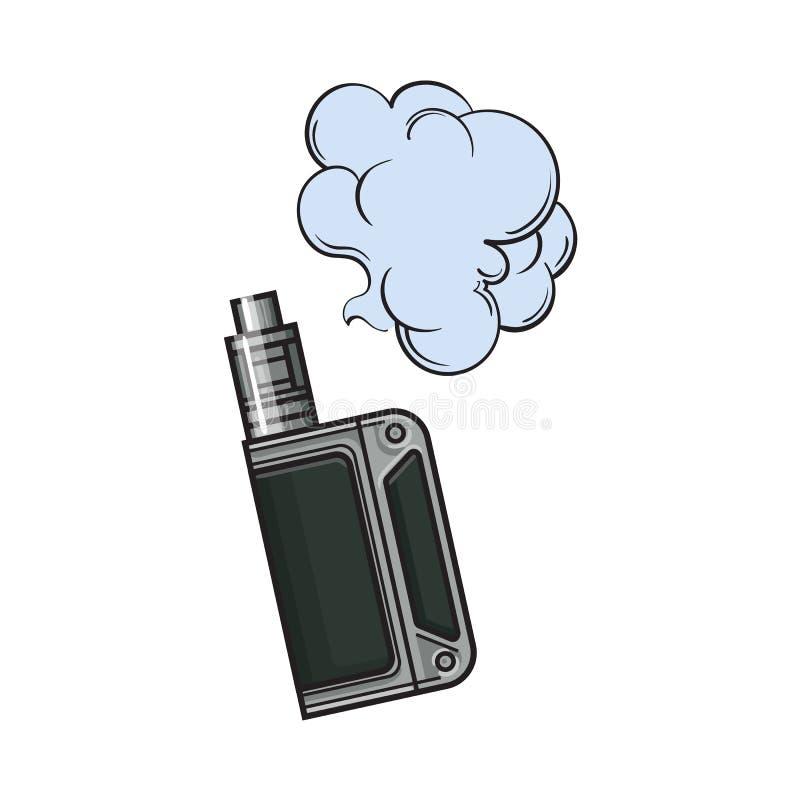 Вручите вычерченное vape, vaping прибор с облаком дыма, иллюстрация эскиза иллюстрация вектора