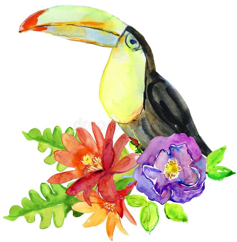 Вручите вычерченной акварели флористический букет с тропическими цветками, листьями и большой toucan птицей иллюстрация вектора
