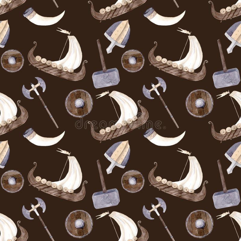 Вручите вычерченной иллюстрации акварели безшовную картину Викингов shie бесплатная иллюстрация