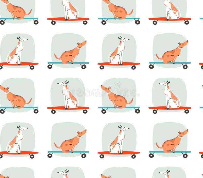 Вручите вычерченной потехе временени чертежа шаржа вектора безшовную иллюстрацию картины с собаками катания на скейтбордах и длин иллюстрация штока