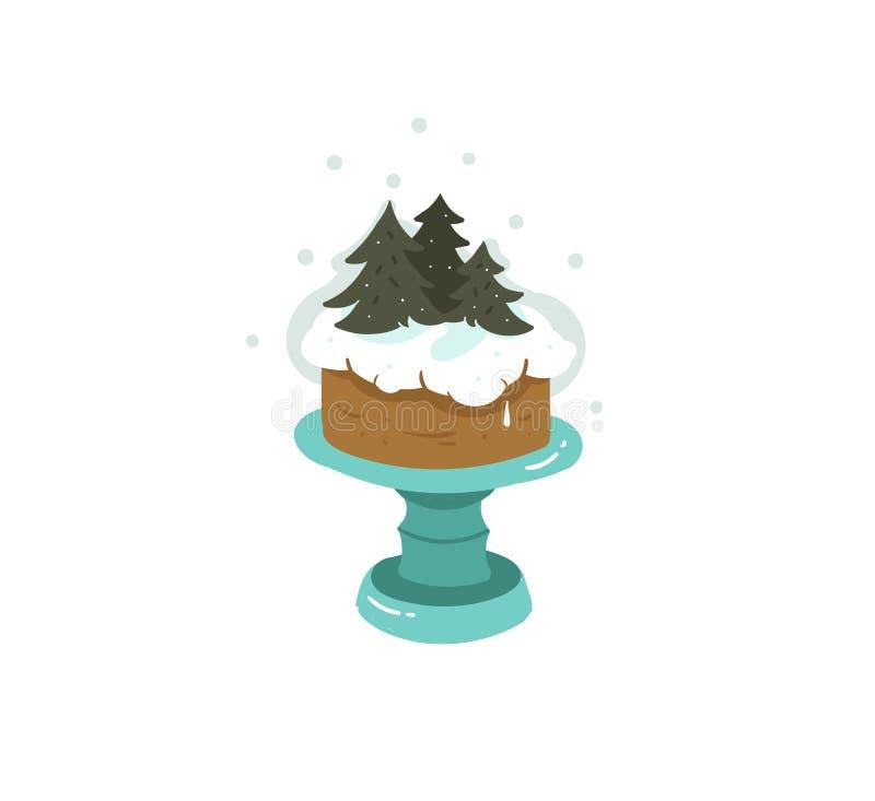 Вручите вычерченной потехе конспекта вектора с Рождеством Христовым иллюстрацию шаржа времени бесплатная иллюстрация