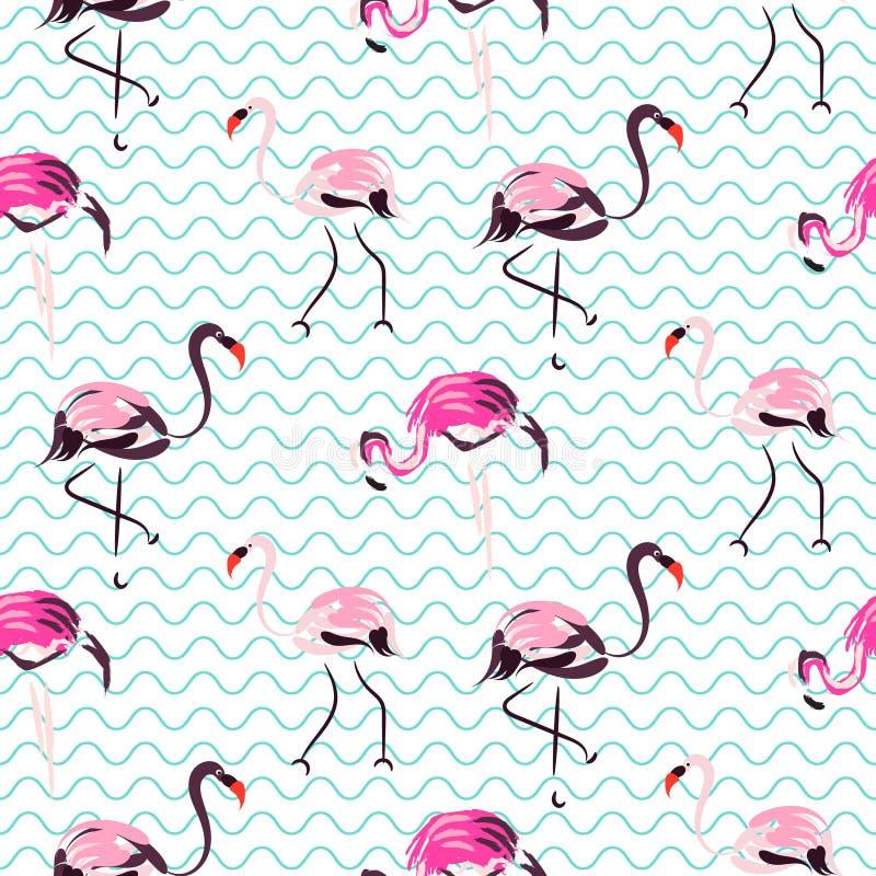 Вручите вычерченной фиолетовой птице фламинго голубые волны безшовная картина бесплатная иллюстрация