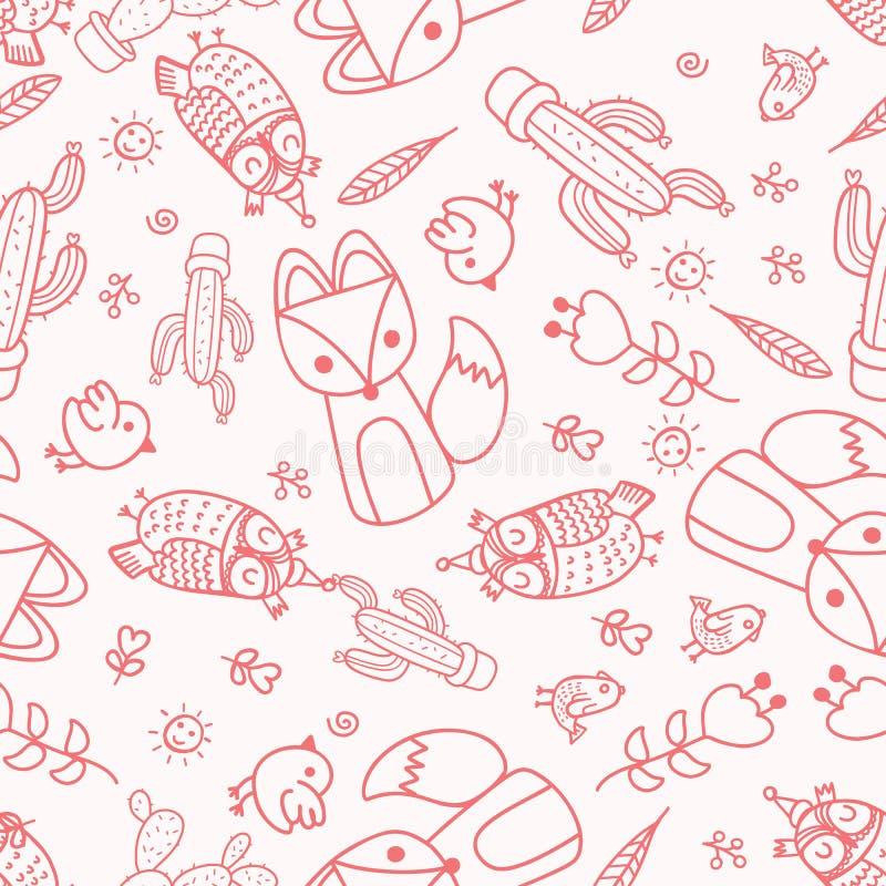 Вручите вычерченному вектору безшовную картину с милыми животными , Fox, сыч, иллюстрация штока