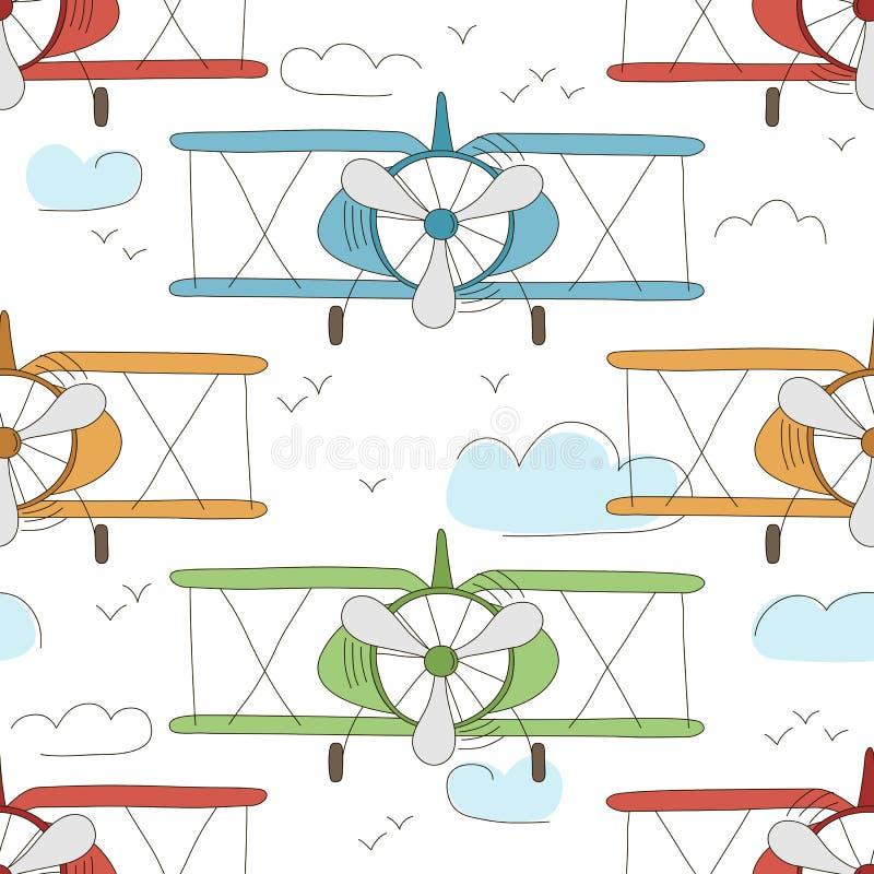 Вручите вычерченному вектору винтажную безшовную картину с милыми маленькими самолетами в небе с облаками Предпосылка приключения иллюстрация вектора