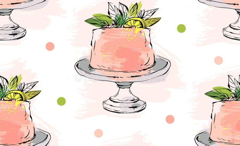 Вручите вычерченному вектору милый день рождения или wedding безшовную картину с тортом на иллюстрации стойки с лимоном, листьями иллюстрация вектора