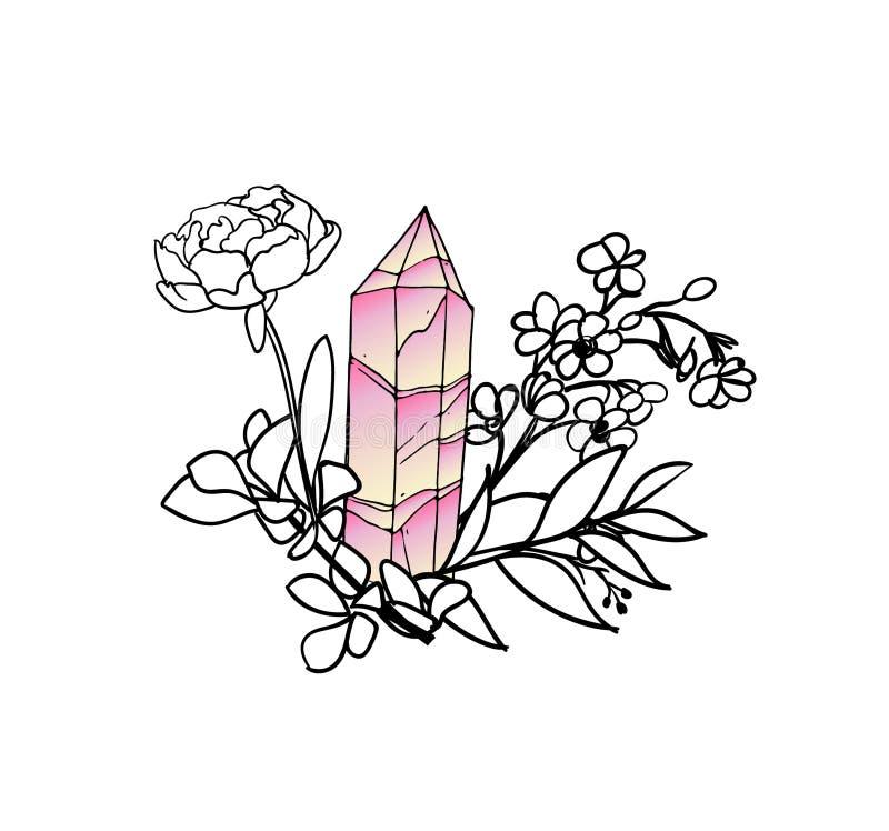 Вручите вычерченному вектору флористическую рамку с листьями, цветками, пер и самоцветами внезапный тип эскиза света компьтер-кни иллюстрация вектора