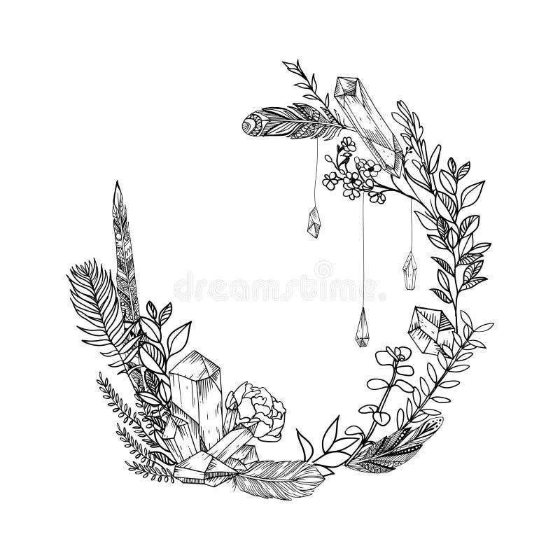 Вручите вычерченному вектору флористическую рамку с листьями, цветками, пер и самоцветами внезапный тип эскиза света компьтер-кни иллюстрация штока