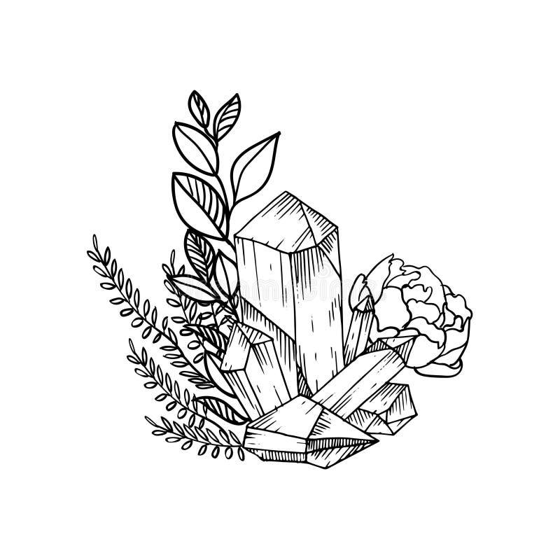 Вручите вычерченному вектору флористическую рамку с листьями, цветками, пер и самоцветами внезапный тип эскиза света компьтер-кни бесплатная иллюстрация