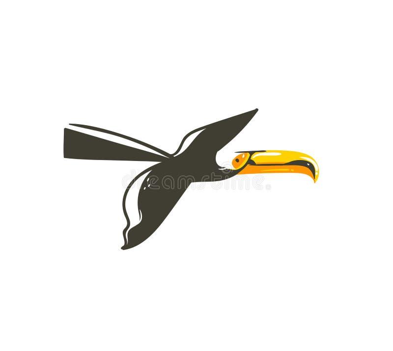 Вручите вычерченному временени шаржа конспекта вектора графическое искусство иллюстраций украшения с экзотическим тропическим лет иллюстрация вектора
