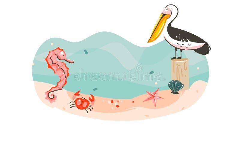 Вручите вычерченному временени шаржа конспекта вектора графическую подводную сцену предпосылки шаблона иллюстраций с морем иллюстрация вектора