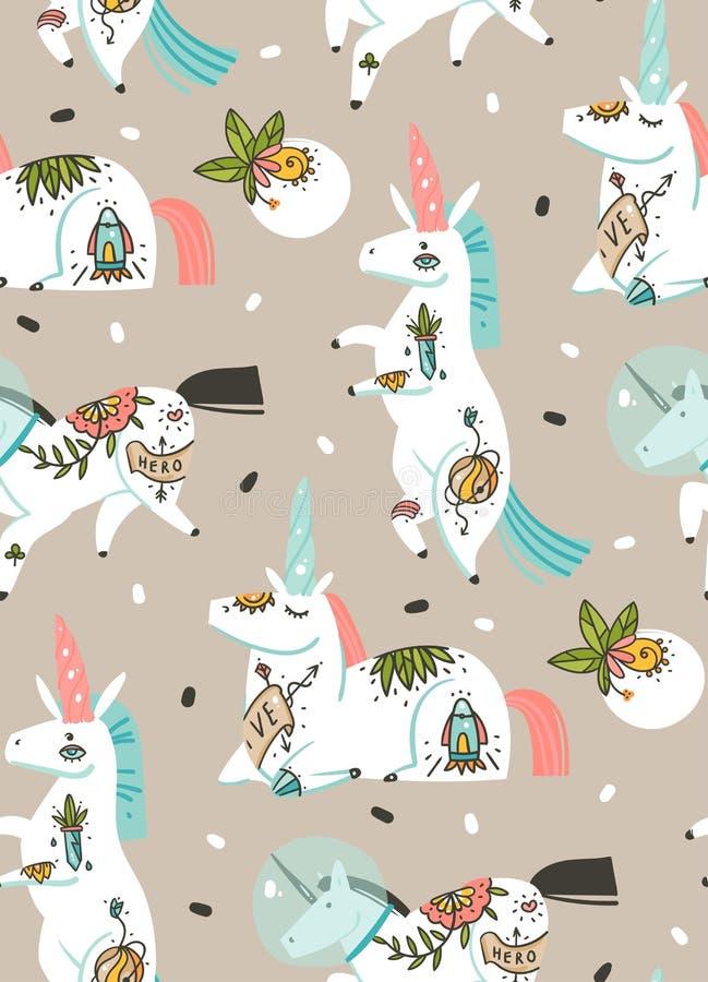 Вручите вычерченному конспекту вектора графические творческие художнические иллюстрации шаржа безшовная картина с единорогами аст иллюстрация штока