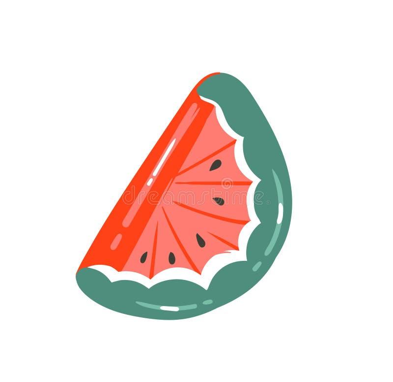 Вручите вычерченному конспекту вектора графическое собрание временени шаржа плоские иллюстрации с заплыванием арбуза резиновым иллюстрация штока