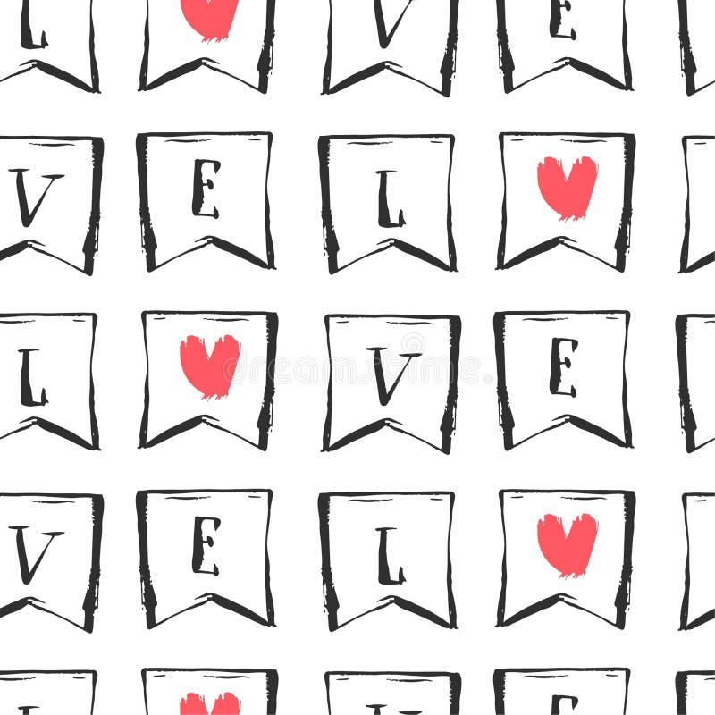 Вручите вычерченному конспекту вектора графическую безшовную картину с любовным письмом в флагах в красных, черно-белых цветах ул иллюстрация вектора