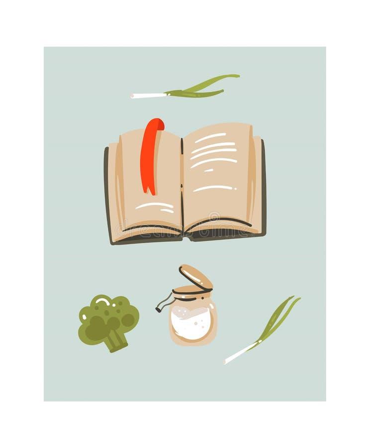 Вручите вычерченному конспекту вектора современный значок иллюстраций потехи продолжительности варки шаржа с рецептами поваренной иллюстрация вектора