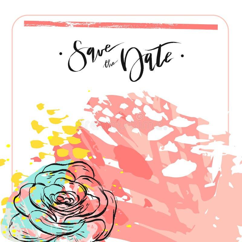 Вручите вычерченному конспекту вектора творческое необыкновенное спасение универсалии шаблон карточки даты с графическими цветкам иллюстрация штока