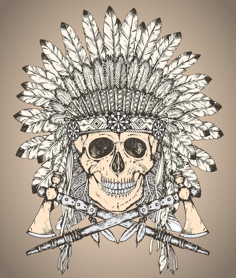 Вручите вычерченному коренному американцу индийский головной убор с человеческим черепом и иллюстрация штока