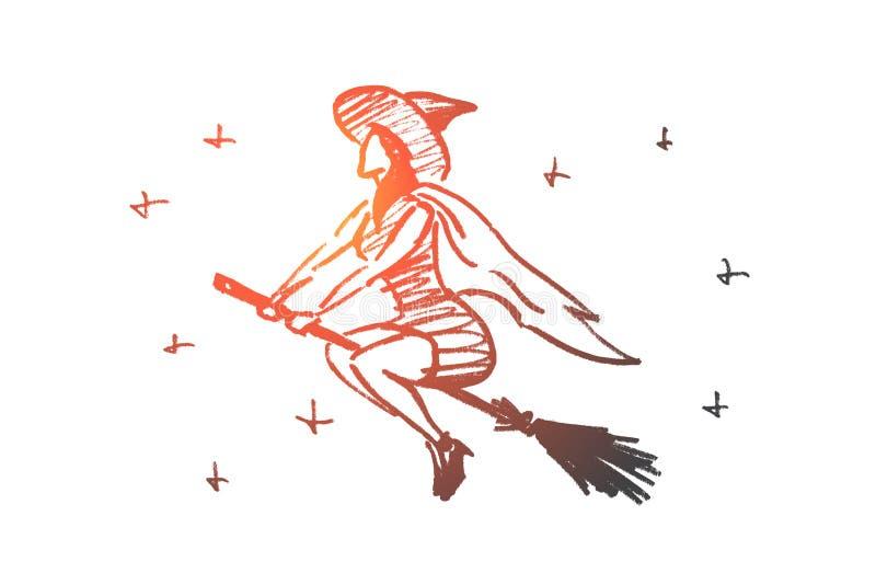 Вручите вычерченному хеллоуину волшебное летание женщины на венике бесплатная иллюстрация