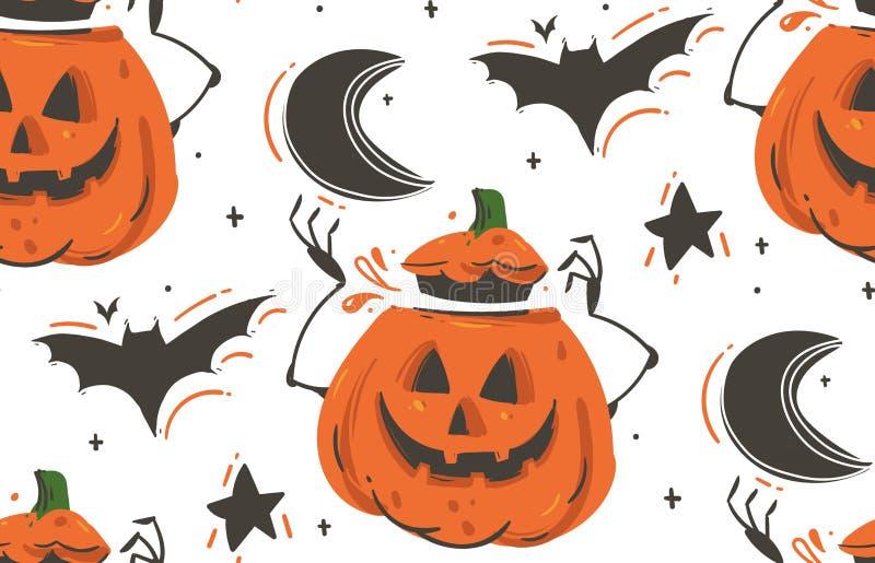 Вручите вычерченному шаржу конспекта вектора счастливые иллюстрации хеллоуина безшовная картина с летучими мышами, тыквами, луной иллюстрация вектора