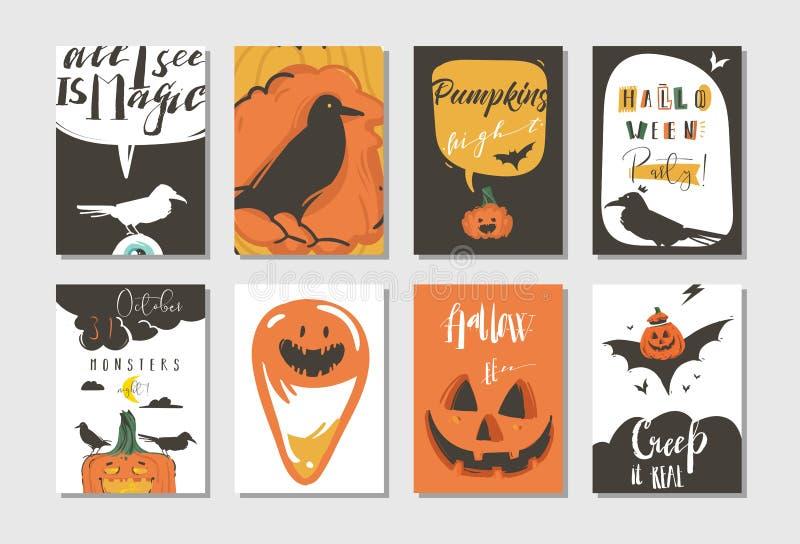Вручите вычерченному шаржу конспекта вектора счастливые плакаты партии иллюстраций хеллоуина и комплект карточек собрания с ворон иллюстрация вектора