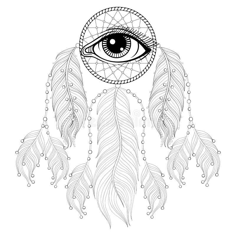 Вручите вычерченному zentangle богемское Dreamcatcher с глазом, родным Amer бесплатная иллюстрация