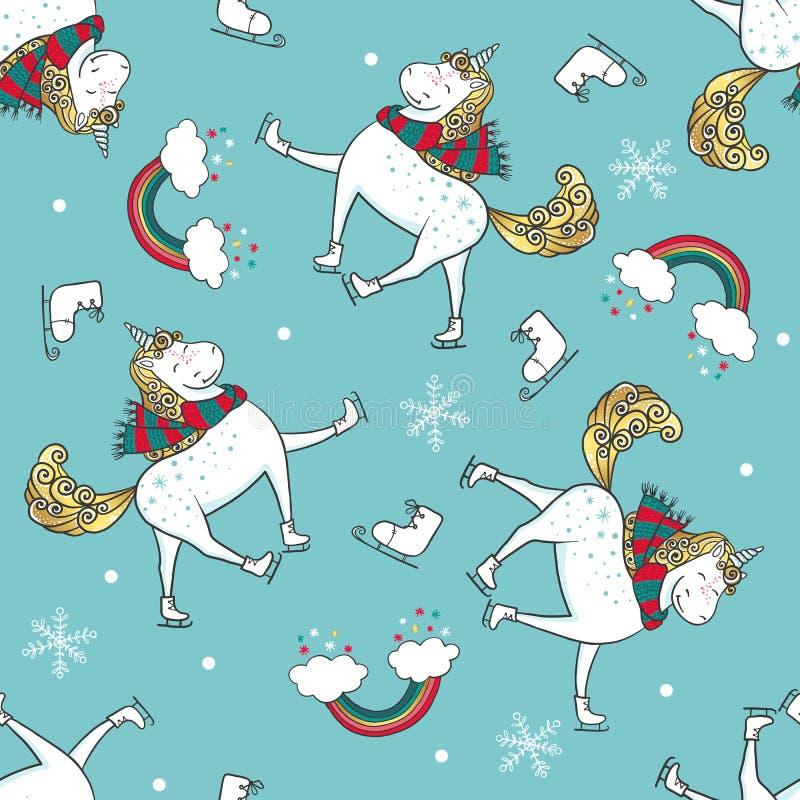 Вручите вычерченную безшовную картину с единорогами на scates, снежинках и радуге бесплатная иллюстрация