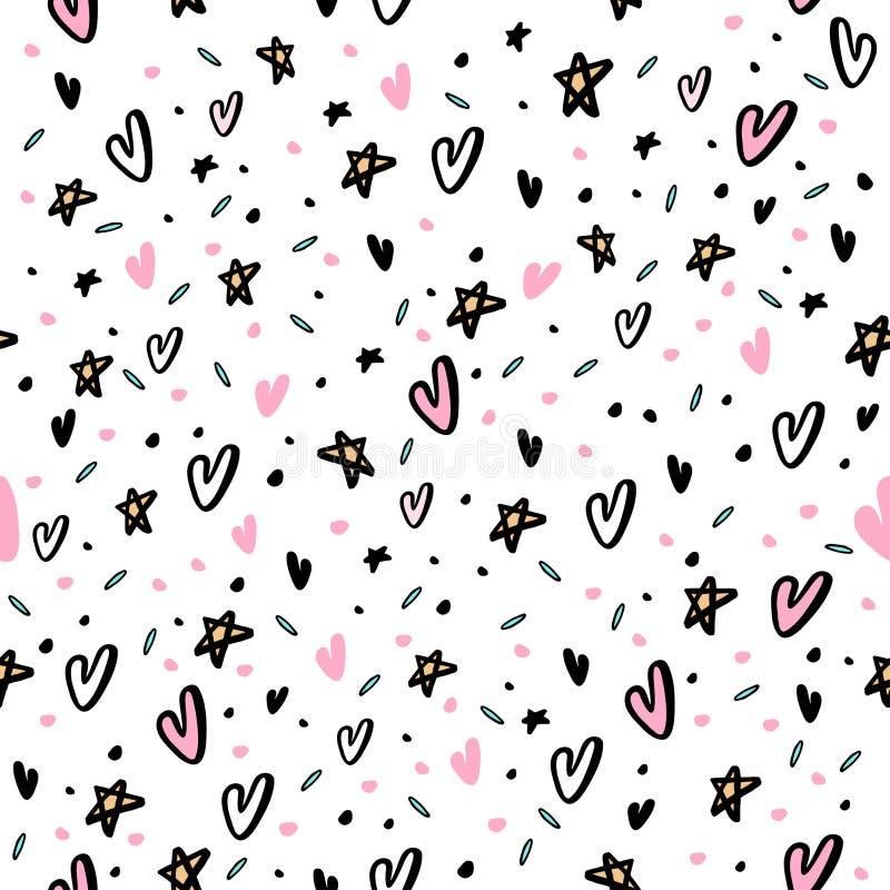 Вручите вычерченную безшовную картину с сердцами и звездой бесплатная иллюстрация