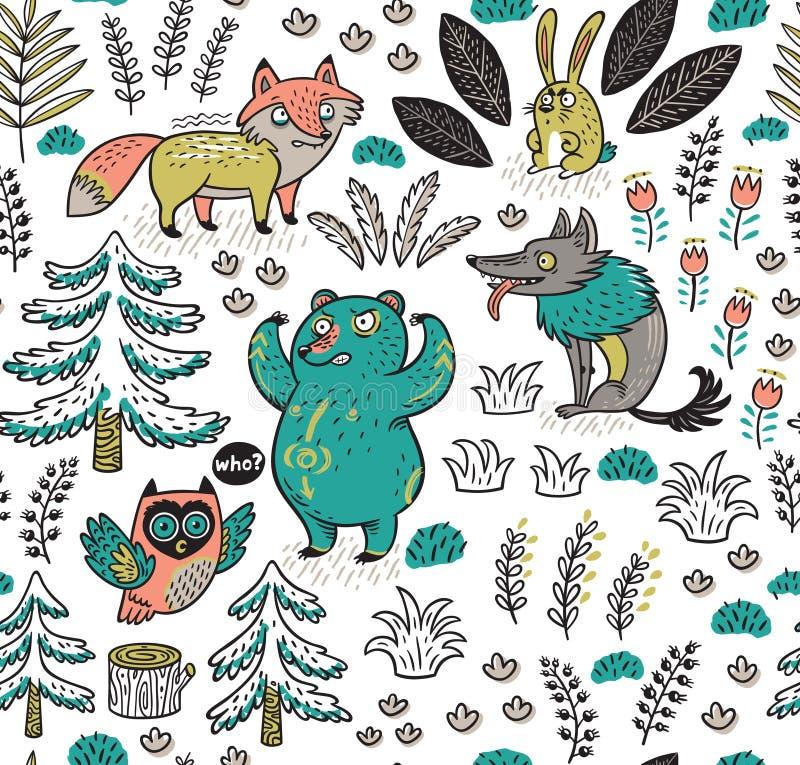 Вручите вычерченную безшовную картину с смешными красочными животными иллюстрация вектора