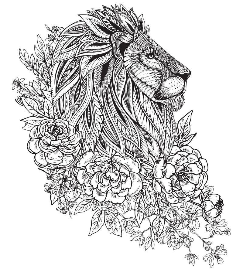 Вручите вычерченную графическую богато украшенную голову льва с этническим флористическим doodle бесплатная иллюстрация