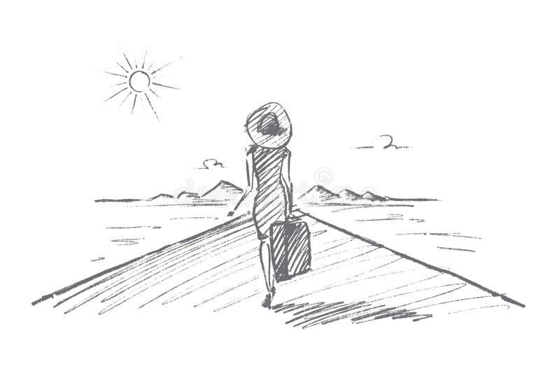 Вручите вычерченную женщину при чемодан идя путешествовать иллюстрация вектора