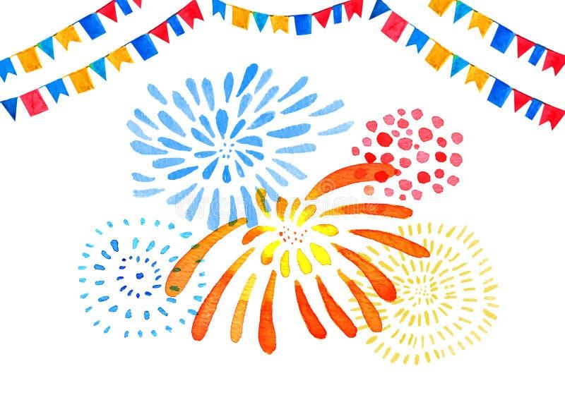 Вручите вычерченную иллюстрацию акварели с изолированными фейерверками цвета стилизованными и гирляндами флагов иллюстрация штока